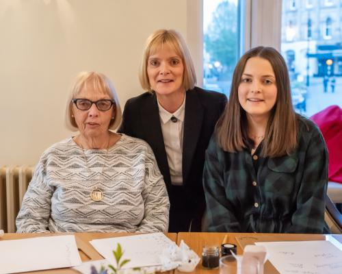 3 generations at a calligraphy workhop