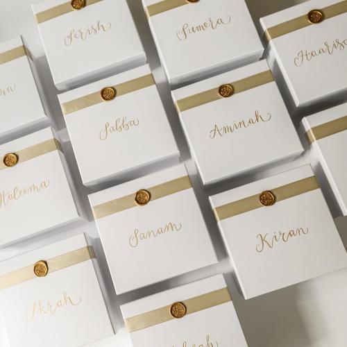 Bridesmaid box calligraphy