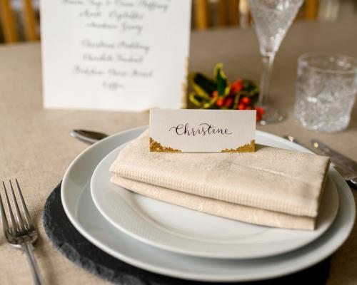 Calligraphy for Chrsitmas Table