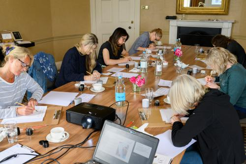 Students on calligraphy course in Harrogate, Yorkshire